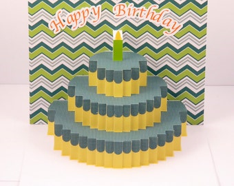 pop up Birthday card - handmade personalized birthday card with pop up cake