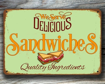 SANDWICHES RESTAURANT SIGN, Restaurant Sign, Cafe Sign, Vintage style Restaurant Sign, Sandwiches Wall Sign, Diner Sign, Restaurant Decor