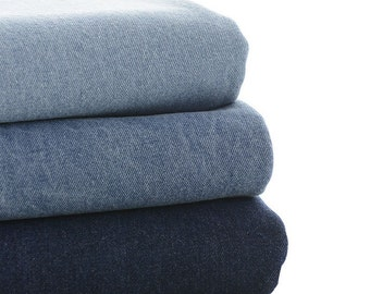 140cm / 55 inch Width, Solid Washed Cotton Twill Denim Fabric, Half Yard