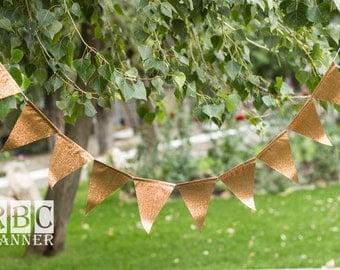 Copper Garland Banner, Copper Wedding  Banner, Copper Wedding Decor, Copper Garland Birthday, Fall Wedding Banner, Copper Glitter Flags