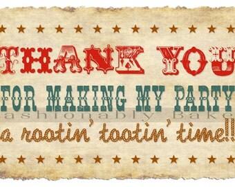Rustic Vintage Western Wild West Cowboy/Cowgirl Thank You Birthday Cards (12 minimum order)