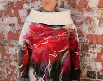 Nuno felted top «Ice and Fire».