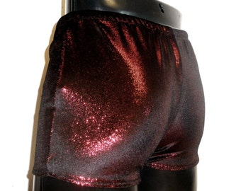 Mens Booty Shorts Metallic Velvet Hotpants Red Sparkle S M L XL Spandex Christmas Pride Sparkly Pants Yoga Stretch Tight Fit Mooners UK Gay