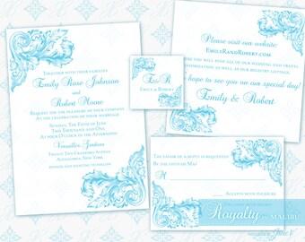 Wedding Invitation Printable Template Set | Printable Invitation Suite (5x7) - Digital DIY | Royalty in Malibu