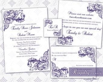 Wedding Invitation Printable Template Set | Printable Invitation Suite (5x7) - Digital DIY | Royalty in Grape