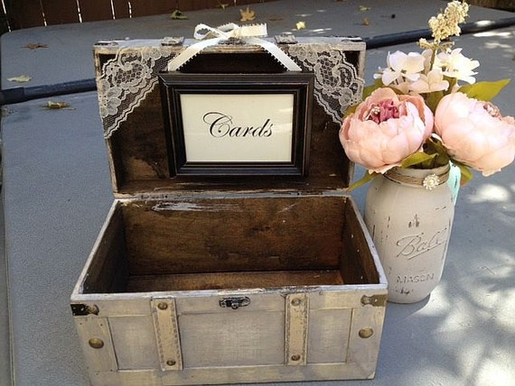 Rustic ivory wedding card box with cards sign guest table for Wedding mailbox decorating ideas
