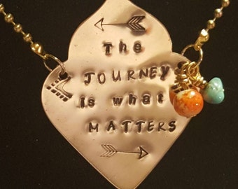 The JOURNEY is what matters handstamped inspirational necklace