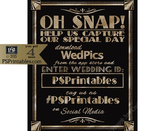 Personalized OH SNAP Social Media Printable File with personalized hashtag and wedpic id -DIY - Art Deco/Great Gatsby/Roaring 20's Gold
