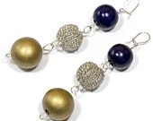 Purple and Gold, Dangly, Beaded Earrings