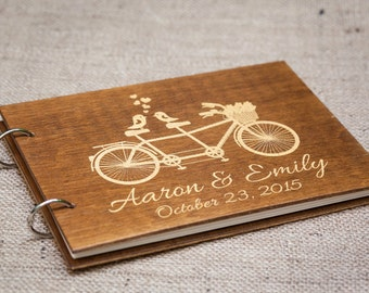 Gold Guest Book, Guest Book, Wedding Guest Book, Wedding Album, Rustic Guest Book, Wedding, Wood Guest Book, Wedding Guestbook, Bicycle