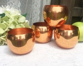 4 Copper Cups Set, Roly Poly Mug, Moscow mule, Punch, Mid Century Modern, Holiday wedding parties, Coppercraft guild, round, retro, tumbler