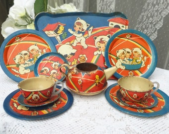 11 pc Antique Tin Litho 3 Little Kittens Tea party set, Ohio art, child's Toy, tray cup plate saucer, retro, kitsch, kid, children, nursery