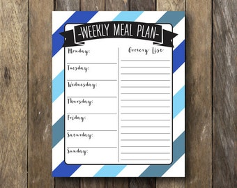 Printable Meal Planner and Grocery List - Daily Meal Planner - Instant Download Printable