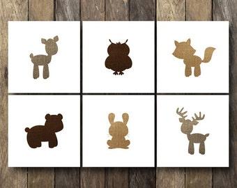 Baby Animal Nursery Art - Printable 12x12 Nursery Art - Instant Download - Woodland Animal Nursery Art - Baby Animal Nursery