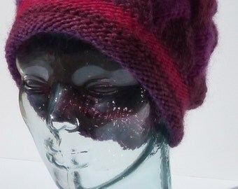 Womens Knit Hat, Hand Knit Hat, Winter Hat, Pink and Purple Hat, Magenta Themed