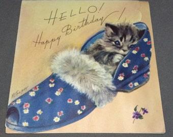 Vintage Birthday Card Kitten in Slipper Marjorie Cooper Rust Craft Artist Guild Paper Scrapbook Cat Kitty Shoe Unused