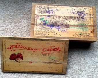 Vintage Wood Box Small Storage Huckleberry Strawberry Chocolate Organization Home Decor Crate