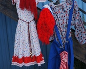 Halloween Costume Vintage Raggedy Ann Raggedy Andy Set, 70s Hand Made Doll Costume, Hand Made Raggedy Ann Costume, Hand Made Raggedy Andy
