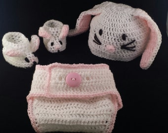 Baby Bunny Set: Bunny Hat, Bunny Booties and Bunny Diaper Cover with Bunny Tail