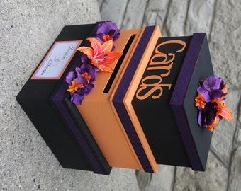 Custom Wedding Card Box 3 Tier Holder Square Orange And Black