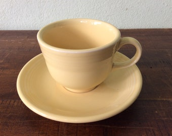 Yellow Fiestaware  teacup and saucer, HLC, 80s, 90s, New Yellow Homer Laughlin yellow teacup, 2roads2take