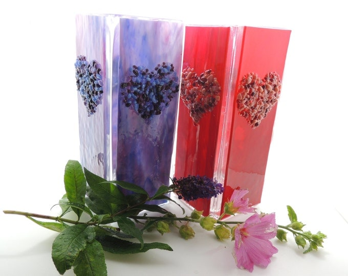 Purple glass vase Tall square flower vase Home decor. Glass heart Wedding anniversary, birthday, housewarming, thank you, leaving gift ware.