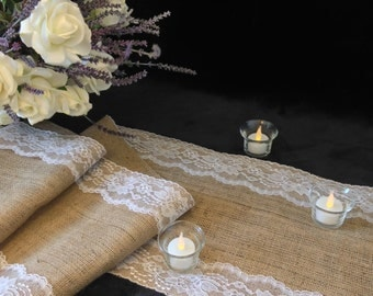 "Burlap Table Runner, WHITE Lace - Wedding Table Runner - 12"" Width; Lace on Edges - Country Home Decor, Farmhouse Decor, Rustic Wedding"
