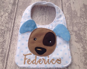 Brown dog baby bib personalized with name