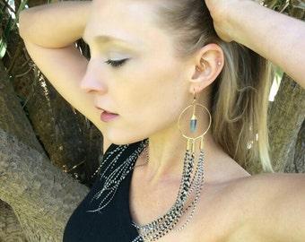 Kyanite Triple Grizzly Earrings