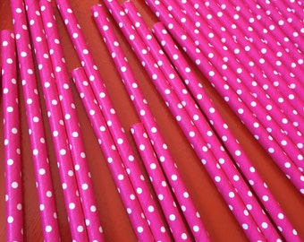 25 Hot Pink with White poke a Dot.  Paper Straws