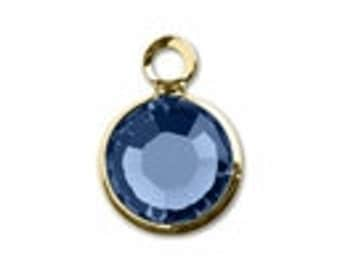 57700 SAPPHIRE 8pcs Swarovski Crystal Channel Drops Gold Plated One Loop - September Birthstone Charms