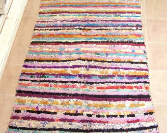 Moroccan rag rug boucherouite (or boucharouette) berber tribal art