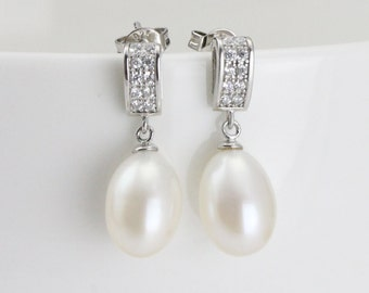 8mm Ivory Freshwater Bridal Pearl Earrings for bridesmaids