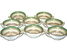 Eight Vintage Minton Cream Soup or Bouillon Bowls or Cups, Pattern S166, Green, White, and Gold -- Gilded Age Porcelain