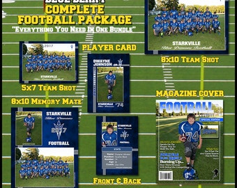 Complete Football Template Package -  Includes: Player Trading Card, Memory Mate, Magazine Cover, Team Shot  Photoshop Templates BlueBerry