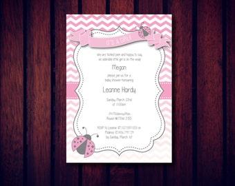 Lady Bug Invitation, Lady Beetle Invitation, Baby Shower Invitation, Birthday Invitation, Digital File, Printable and Printed