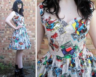 SALE - Dress Made From Marvel Avengers Fabric -MEASUREMENTS REQUIRED  Handmade To Order - Fully Lined