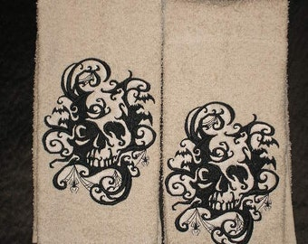 PAIR of hand towels - Skull Shadows design - EMBROIDERED 15 x 25 inch for kitchen / bath
