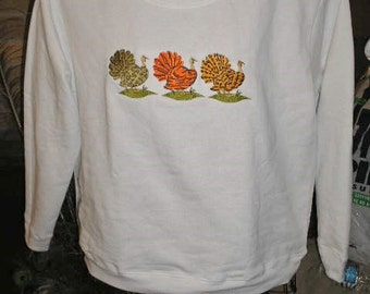 Thanksgiving fashion print Turkeys - Embroidered Womens Regular or Plus Size Sweatshirt sizes Small to 3x