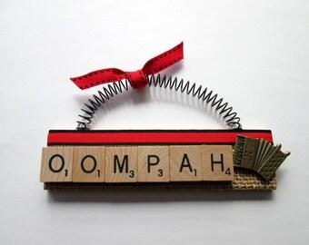 Accordian Oompah Band Music Scrabble Tile Ornament