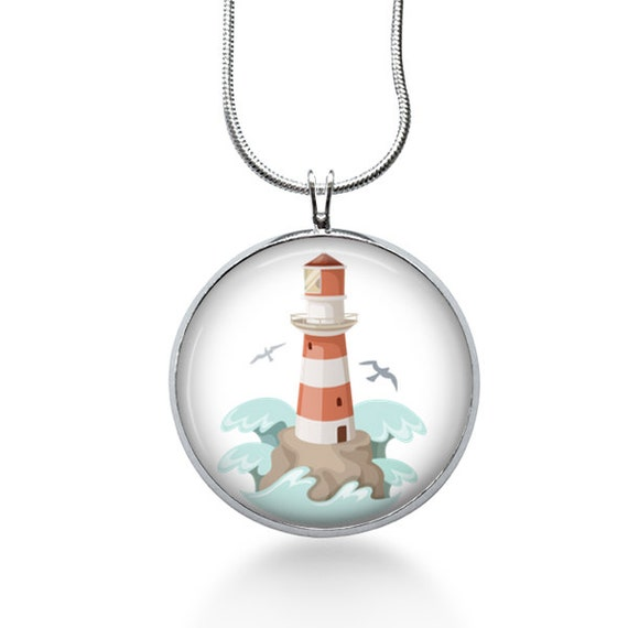 Lighthouse Charm Necklace - Lighthouse Pendant - LightHouse Charm - Ocean - Pendant Necklace - beach jewelry - gifts for her, beachy, summer