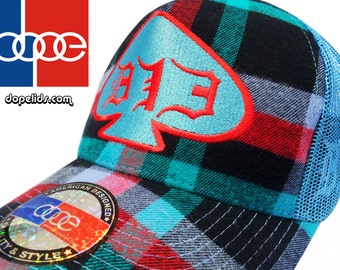 """Snapback Hat """"The Groove"""" D13 by dopelids Hip Hop DJ Curved Bill Plaid"""
