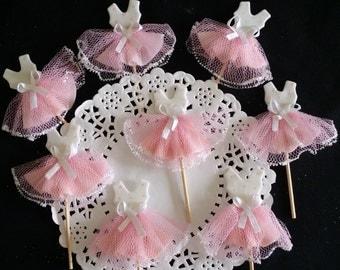 Ballerina Birthday, Tutu Cupcake Toppers, Ballerina Baby Shower, Ballerina Pink Favors, Ballerina Cupcake Topper, Tutus Baby Shower, Set 12