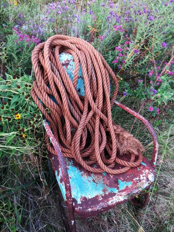 100 feet of glorious old hemp barn rope 1 dia faded - Hemp rope craft ideas an authentic rustic feel ...