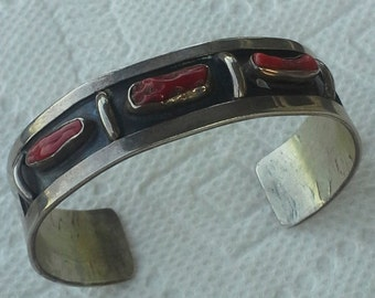 Navajo vintage cuff bracelet sterling silver and red coral branch