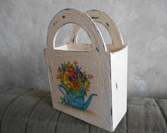Rustic Wooden  Napkin Holder.  Garden. Gift. Provence. Shabby Chic Kitchen