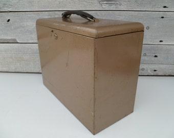 Large Vintage Rustic Metal Filing, Industrial, Storage Box