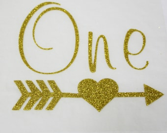 Iron On Vinyl Gold Glitter ONE With Heart Arrow- Iron On Decal