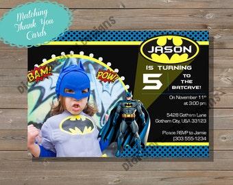 Batman, Birthday Invitation and Thank You Card, printable, superhero, customizable, photo, Digital File or Printed Options