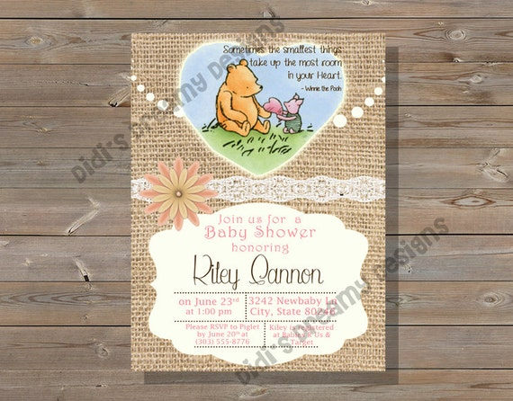 classic winnie the pooh baby shower invitation book insert diaper